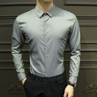 衬衫男学生秋季新款修身男士长袖衬衫韩版潮流休闲长衬衣时尚商务纯色上衣男