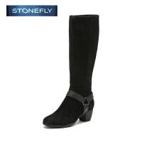 STONEFLY/斯通富来冬季绒面牛皮休闲粗跟街头风时尚长靴女靴SD44110613