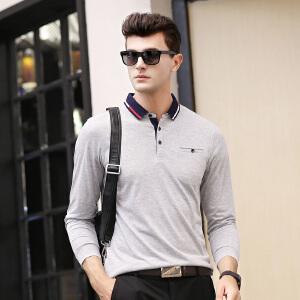 春秋季衣服爸爸长袖t恤男衬衫领 纯色polo衫男商务休闲口袋体恤
