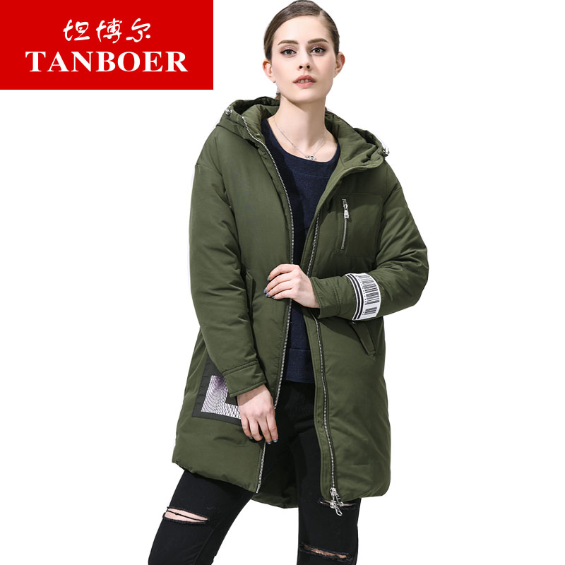 坦博尔2017秋冬季新款时尚印花羽绒服女中长款情侣羽绒外套TB3692商场同款