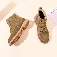 【时尚真皮抗寒保暖】新品平跟舒适精美系带新款经典马丁靴