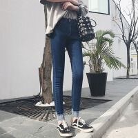 白领公社 牛仔裤 女春季新款女士九分裤高腰小脚裤女式铅笔裤显瘦学生裤子时尚女装