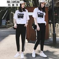 玛莲莎套装女夏季2019新款时尚两件套学院风韩版运动休闲潮