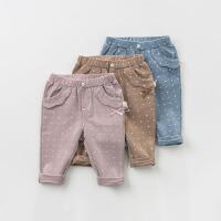 [2件3折价:65.1]戴维贝拉春季新款女童裤子宝宝圆点休闲长裤DB11147