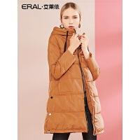 ERAL/艾莱依2018冬季新款轻薄羽绒服女中长款修身外套617104177