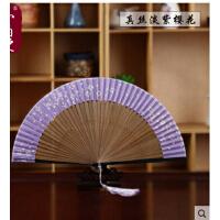 和服江户日式折扇 真丝棉布樱花烤漆大排女扇短面礼品扇子  可礼品卡支付