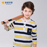 英格里奥男童打底衫中大童休闲纯棉儿童开襟彩条长袖T恤