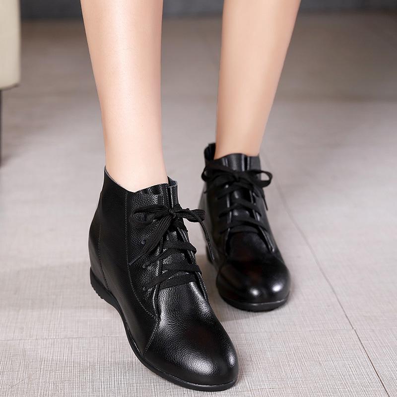 秋季系带女靴皮内里内增高平底短靴保暖软底坡跟马丁靴单靴子