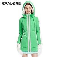 ERAL/艾莱依冬季中长款休闲拼接轻薄羽绒服女保暖女韩版修身6072D