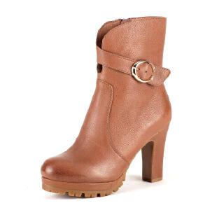 【3折到手价149.7元】星期六ST&SAT羊皮尖头超高拉链皮带装饰深口女鞋SS44112007