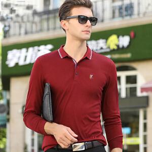 秋冬季长袖t恤男polo衫小马标刺绣商务男士纯色翻领T恤条纹爸爸装