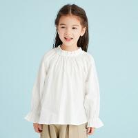 【1件4折价:119.6元】马拉丁童装女童长袖衬衫2019春装新款洋气木耳灯笼袖白色衬衣t恤