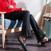 加绒加厚喇叭裤女秋冬2018新款韩版高腰微喇长裤流苏毛边牛仔裤女
