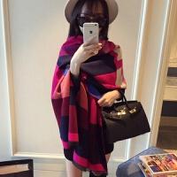 双面两用女士围巾冬天保暖披肩百搭围巾女冬季韩版学生长款围巾