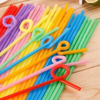 宜�� 一次性彩色吸管多�吸管50只�b 一次性吸管塑料吸管