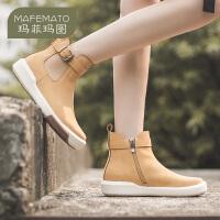 玛菲玛图2020秋冬新品女靴英伦风潮流短靴搭扣真皮切尔西靴女1811-9