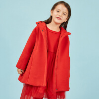 【1件秒杀价:400】马拉丁童装女童大衣外套春装新款洋气红色连帽外套女中长款