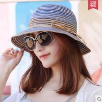 帽子女户外新款波西米亚草帽女士遮阳帽沙滩帽防晒凉帽时尚简约防紫外线女帽