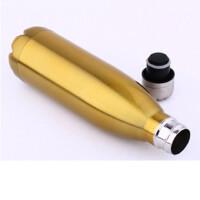 HEISOU 大肚杯 可乐保温杯 运动热水瓶 不锈钢水杯 金色CF-132
