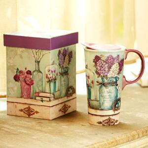 爱屋格林evergreen手绘陶瓷杯礼盒装创意咖啡杯带盖水杯子马克杯500ML