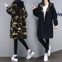 2018秋冬新款女装韩版宽松学生黑色加厚连帽中长款风衣外套 L 建议125-140