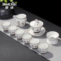 茶壶盖碗茶杯家用白瓷亚光脂白茶具套装整套陶瓷功夫茶具