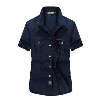 夏装新款战地吉普AFS JEEP纯棉尖领短袖衬衫88-08男士半袖大码衬衣