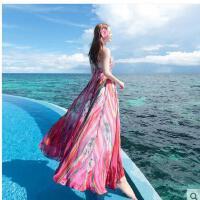 大裙摆沙滩裙长款民族厘岛度假吊带裙风波西米亚连衣裙雪纺印花巴 可礼品卡支付