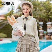 Lagogo拉谷谷2020春新款雪纺衫白色单排扣荷叶领喇叭袖长袖衬衫女