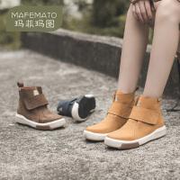 玛菲玛图潮流女靴街头嘻哈靴子高帮牛皮单靴2020秋新款切尔西靴时尚短筒靴1811-14