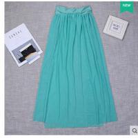新款沙滩裙半身裙欧美风海边度假开叉连衣裙长款弹力网纱素色可礼品卡支付