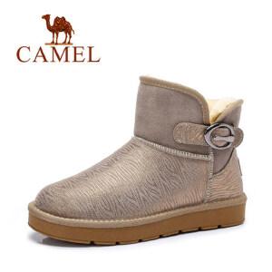camel骆驼雪地靴 冬季情侣款牛皮短筒雪地靴 加绒休闲男女靴