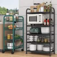 厨房置物架落地多层家用小推车可移动储物蔬菜篮子收纳架用品大全