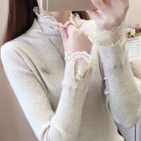 时尚蕾丝高领针织衫上衣秋冬季孕妇打底衫内搭短款高弹修身毛衣