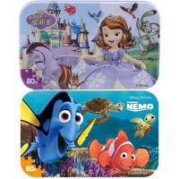 【当当自营】迪士尼拼图玩具 60片铁盒木质拼图二合一(苏菲亚2265+海底总动员2393)