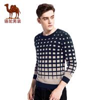 骆驼男装 2017年冬季新款套头撞色圆领修身男青年休闲长袖毛衣