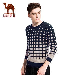 骆驼男装 冬季新款套头撞色圆领修身男青年休闲长袖毛衣