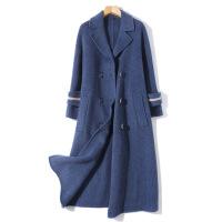 新女大衣2018秋冬新款女士毛呢外套中长款蓝色双面羊毛大衣 蓝色