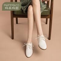 玛菲玛图洛丽塔女鞋2020新款春季日系真皮女鞋粗跟系带百搭白领中跟单鞋女9207-1NP