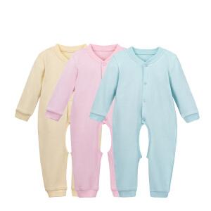 【加拿大童装】gagoutagou婴幼儿连体衣长袖可开裆纯棉春秋婴儿哈衣内衣爬服新生儿衣服长袖爬服