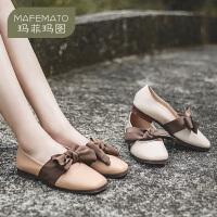 玛菲玛图2020新款单鞋女甜美优雅蝴蝶结低跟鞋休闲方头浅口鞋2890-2W