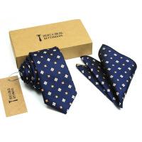 新男士正装领带新款男士商务领带6CM时尚复古花纹正装商务衬衫窄领带礼盒套装u005