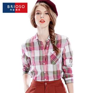 BRIOSO 薄款防晒长袖格子衬衫女士秋夏渐变格子衬衣 纯棉时尚女装 WE16795