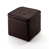 【品牌直供】日本SANWA 150-SNCBOX1BR PU皮革大号方形收纳凳正方形加厚床前凳换鞋凳储物凳