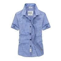 2016夏装新款战地吉普AFS JEEP纯棉短袖男衬衫 1756尖领半袖大码