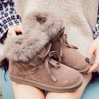 雪地靴女皮毛一体2019冬季短筒靴子韩版加绒保暖加厚学生棉鞋