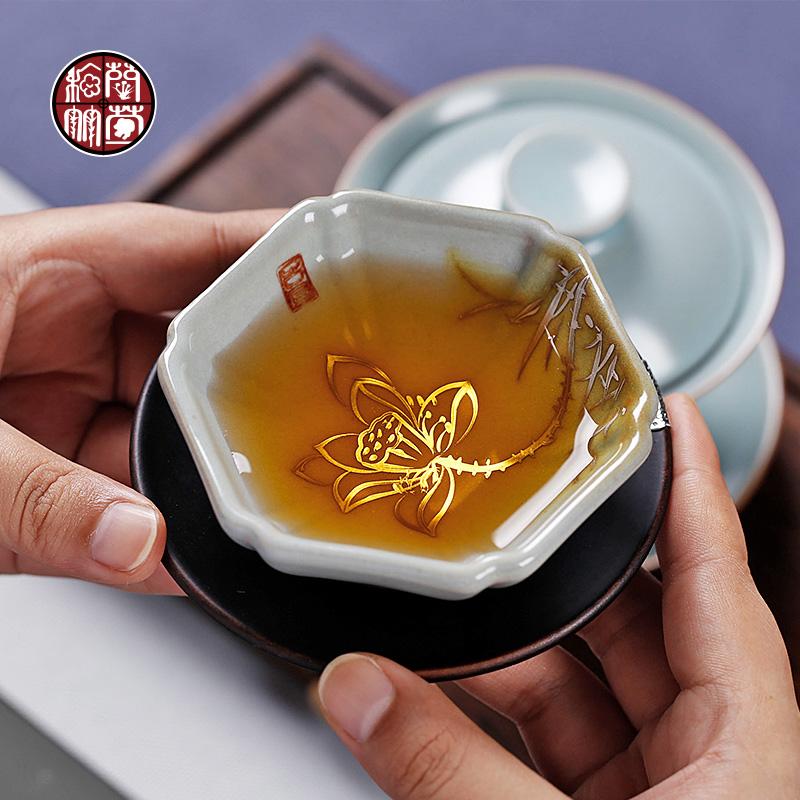汝窑功夫小茶杯开片可养茶盏主人杯银手工手绘陶瓷单杯大号个性