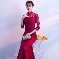 晚礼服2018冬季新款新娘结婚回门礼服裙中式立领改良旗袍敬酒服女