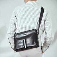 波斯丹顿单肩包男包牛皮时尚斜挎包休闲大容量男士包包黑色B1182021
