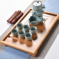 创意半自动时来运转青瓷功夫茶具套整套家用平板竹茶盘